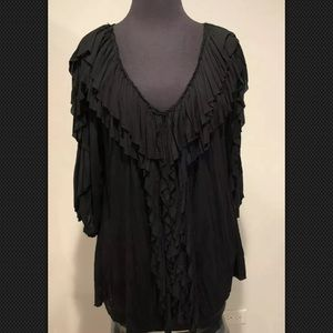 Bailey 44 Anthropologie ruffle black shirt sz M